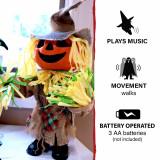 Haunted Hill Farm Haunted Hill Farm 1.25-ft Musical Walking Pumpkin Scarecrow, Indoor/Outdoor Halloween Decoration, Battery-Operated, Davy, HHMNPUMP-1FSA