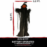 Haunted Hill Farm Haunted Hill Farm 5.6-ft Animatronic Pumpkin, Indoor/Outdoor Halloween Decoration, Multicolor LED Eyes, Poseable, Battery-Operated, Gourdy, HHPUMP-7FLS