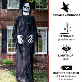 Haunted Hill Farm Haunted Hill Farm 10.33-ft Standing Reaper, Indoor/Covered Outdoor Halloween Decoration, LED Blue Eyes, Poseable, Battery-Operated, Mortimer, HHRPR-13FLS