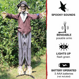 Haunted Hill Farm Haunted Hill Farm 6-ft Standing Scarecrow, Indoor/Covered Outdoor Halloween Decoration, LED Green Eyes, Poseable, Battery-Operated, Haywire, HHSCR-4FLS