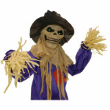 Haunted Hill Farm Haunted Hill Farm 5.83-ft Standing Scarecrow, Indoor/Covered Outdoor Halloween Decoration, LED Green Eyes, Poseable, Battery-Operated, Bates, HHSCR-5FLS