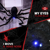 Haunted Hill Farm Haunted Hill Farm 2.5-ft Floating Spider, Indoor/Covered Outdoor Halloween Decoration, LED Blue Eyes, Poseable, Battery-Operated, The Carver, HHSPD-13HLSA
