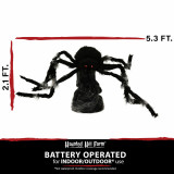 Haunted Hill Farm Haunted Hill Farm 2.1-ft Jumping Spider, Indoor/Covered Outdoor Halloween Decoration, LED Red Eyes, Poseable, Battery-Operated, Dark, HHSPD-4FLSA