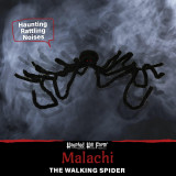 Haunted Hill Farm Haunted Hill Farm 5.25-ft Walking Spider, Indoor/Covered Outdoor Halloween Decoration, LED Red Eyes, Poseable, Battery-Operated, Malachi, HHSPD-5FLSA