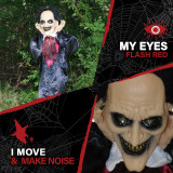Haunted Hill Farm Haunted Hill Farm 5.6-ft Standing Vampire, Indoor/Covered Outdoor Halloween Decoration, LED Red Eyes, Poseable, Battery-Operated, Fang, HHVAMP-2FLSA