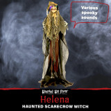 Haunted Hill Farm Haunted Hill Farm 5.58-ftWitch Scarecrow, Indoor/Covered Outdoor Halloween Decoration, LED Multi Eyes, Poseable, Battery-Operated, Helena, HHWITCH-19FLS
