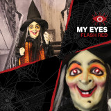 Haunted Hill Farm Haunted Hill Farm 5.42-ft Standing Witch, Indoor/Covered Outdoor Halloween Decoration, LED Red Eyes, Poseable, Battery-Operated, Scarlet, HHWITCH-21FLS