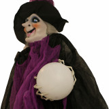 Haunted Hill Farm Haunted Hill Farm 6.5-ft Hanging Witch, Indoor/Covered Outdoor Halloween Decoration, LED Green Eyes, Poseable, Battery-Operated, Harriett, HHWITCH-26HLS
