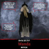 Haunted Hill Farm Haunted Hill Farm 3.75-ft Witch, Indoor/Covered Outdoor Halloween Decoration, LED Red Eyes, Poseable, Battery-Operated, Wanda, HHWITCH-33HLSA