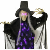 Haunted Hill Farm Haunted Hill Farm 2.5-ft Hanging Witch, Indoor/Covered Outdoor Halloween Decoration, LED Purple Eyes, Poseable, Battery-Operated, Autumn, HHWITCH-34HLS