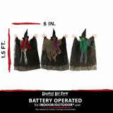 Haunted Hill Farm Haunted Hill Farm Set of Three 1.5-ft Hanging Witches, Multi-Color Hair, Poseable, HHWITCH-36H