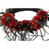 Haunted Hill Farm Haunted Hill Farm 2-ft Wreath with Spiders, Indoor/Covered Outdoor Halloween Decoration, HHWTHFLORL-1