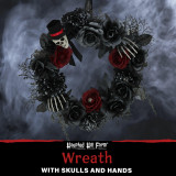 Haunted Hill Farm Haunted Hill Farm 1.4-ft Wreath with Skull and Hands, Indoor/Covered Outdoor Halloween Decoration, HHWTHSKL-3
