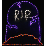 Haunted Hill Farm Haunted Hill Farm Halloween Indoor/Outdoor RIP Tombstone LED Light 42 in x 43 in, FFHELED043-RIP0-PUR