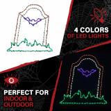 Haunted Hill Farm Haunted Hill Farm Halloween Indoor/Outdoor Bat Tombstone LED Light 47 in x 46 in, FFHELED046-TMB0-MLT