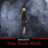 Haunted Hill Farm Haunted Hill Farm 4.5-ft Hanging Witch, Black and White Stockings, Indoor/Covered Outdoor Halloween Decoration, HHTTWTC-1