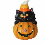 Haunted Hill Farm Haunted Hill Farm 14.5-in Battery Operated Jack O Lantern Cat Stack Halloween Decoration with LED Lights, HHRS015-1CAT-ORG