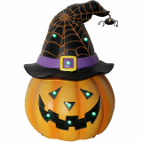 Haunted Hill Farm Haunted Hill Farm 12.25-in Battery Operated Jack O Lantern Halloween Decoration with LED Lights, HHRS013-1PMP-ORG