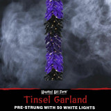 Haunted Hill Farm Haunted Hill Farm 6-Ft Spooky Black Tinsel Garland with Warm White LED Lights, HH072TINGL-5MLT