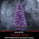 Haunted Hill Farm Haunted Hill Farm 4-Ft Spooky Purple Tinsel Tree with Warm White LED Lights and a Purple Base, HH048TINTR-5PUR