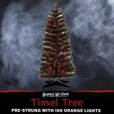 Haunted Hill Farm Haunted Hill Farm 4-Ft Spooky Black Tinsel Tree, Orange LED Lights, HH048TINTR-5BL2