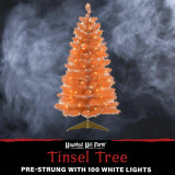 Haunted Hill Farm Haunted Hill Farm 3-Ft Spooky Orange Tinsel Tree with Warm White LED Lights and a Gold Base, HH036TINTR-5ORN