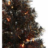 Haunted Hill Farm Haunted Hill Farm 3-Ft Spooky Black Tinsel Tree, Orange LED Lights, HH036TINTR-5BL2