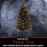 Haunted Hill Farm Haunted Hill Farm 3-Ft Spooky Black Tinsel Tree, Warm White LED Lights, HH036TINTR-5BL1