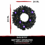 Haunted Hill Farm Haunted Hill Farm 24-In Spooky Black Tinsel Wreath with Warm White LED Lights and Purple Ornaments, HH024TINWR-5BL