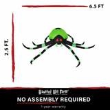 Haunted Hill Farm Haunted Hill Farm 6.5-Ft Inflatable Pre-Lit Black and Green Spider, HISPIDER0651-L