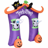 Haunted Hill Farm Haunted Hill Farm 9-Ft Inflatable Pre-Lit Trick or Treat Walkway Arch with Black Cat, Jack-O-Lantern, and Ghost, HITOTARCH091-L