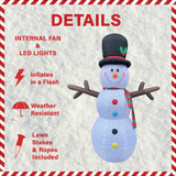 Fraser Hill Farm Fraser Hill Farm 8-Ft Tall Snowman with Snowflake Print, RGB Lights and Storage Bag, Outdoor Blow-Up Christmas Inflatable, FHFSNWM082-L