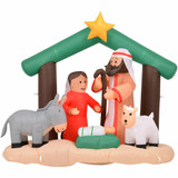 Fraser Hill Farm Fraser Hill Farm 7-Ft Wide Nativity with Mary, Joseph, Baby Jesus, and Animals, Blow-Up Christmas Inflatable w/ Lights and Storage Bag, FHFNVTY073-L