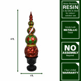 Fraser Hill Farm Fraser Hill Farm 50-In Resin Ball and Finial Topiary in a Black Pedestal Urn - Indoor or Outdoor Christmas Decoration, Harlequin and Stripe, FFRS050-0FIN-RED