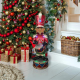Fraser Hill Farm Fraser Hill Farm 3-Ft African American Christmas Toy Soldier Statue with Multi-Color LED Lights, FFRS035-1SOL-RDAA