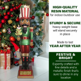 Fraser Hill Farm Fraser Hill Farm 4-Ft Candy-Look African American Nutcracker Greeter Holding Tree in Green Indoor/Outdoor Oversized Christmas Decor, FFRS048-NC0-RD2AA