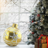 Christmas Time Christmas Time 18-In Resin Oversized Christmas Ornament w/ Snowflake Pattern and LED Lights, Indoor or Covered Outdoor Holiday Decor, Gold, CT-RS018OR1-GD