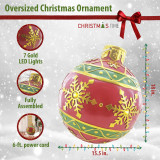 Christmas Time Christmas Time 18-In Resin Oversized Christmas Ornament w/ Snowflake Pattern and LED Lights, Indoor or Covered Outdoor Holiday Decor, Red, CT-RS018OR1-RD