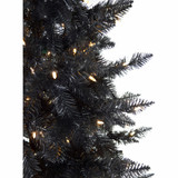 Haunted Hill Farm 6.5-Ft Spooky Black PVC Tree with Warm White LED Lighting