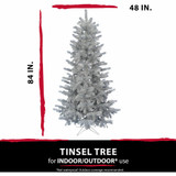 Haunted Hill Farm 7-Ft Spooky Silver Tinsel Tree, No Lights