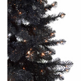 Haunted Hill Farm 7-Ft Spooky Black Tinsel Tree with Clear LED Incandescent Lighting