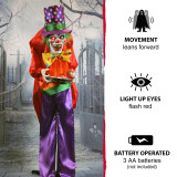 Haunted Hill Farm Life-Size Poseable Animatronic Clown with Flashing Red Eyes Chuckles