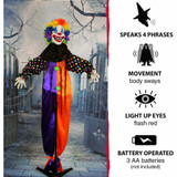 Haunted Hill Farm Life-Size Poseable Animatronic Clown with Flashing Red Eyes Buttons