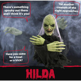 Haunted Hill Farm Groundbreaker Animatronic Witch with Flashing Red Eyes, 20 inches Hilda