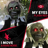 Haunted Hill Farm Pop-Up Animatronic Ghoul with Flashing Red Eyesd 22 inches