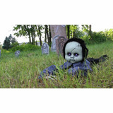 Haunted Hill Farm Animatronic Crawling Boy Doll with Light-up Blue Eyes, 43 inches