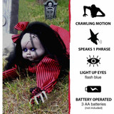 Haunted Hill Farm Animatronic Crawling Baby Doll with Light-up Blue Eyes, 44 inches