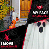Haunted Hill Farm Groundbreaker Animatronic Ghost with Flashing Red Face, 35 inches