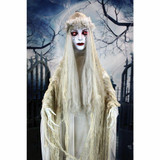 Haunted Hill Farm Life-Size Poseable Animatronic Bride with Flashing Red Eyes