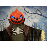 Haunted Hill Farm Life-Size Poseable Animatronic Scarecrow with Flashing Colorful Eyes